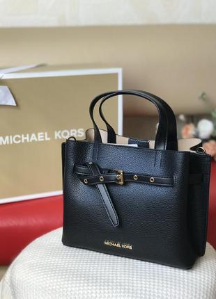 Сумка женская michael kors оригинал emilia small pebbled leather satchel чёрная