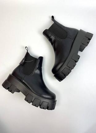 Ботинки натуральная кожа чёрные женские челси на тракторной подошве