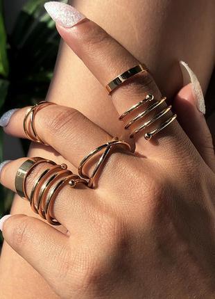 Кольцо кольца каблучки 6 шт набор комплект стильные тренд под золото новые
