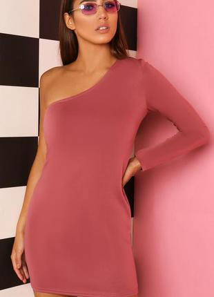 Сексуальное мини платье с одним рукавом