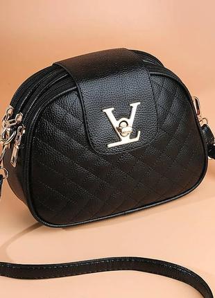 Женская сумка клатч черная стеганая код 3-105