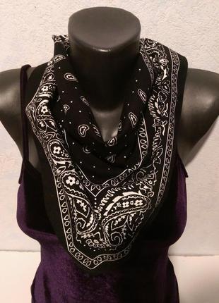 Черная бандана,шейный платок,хлопок,50*49см