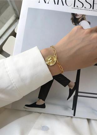 Браслет на руку цепь цепочка с кулоном монеткой под золото новый