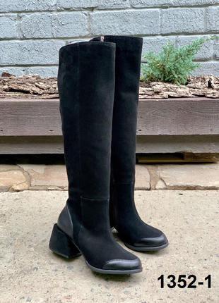 Женские замшевые черные высокие сапоги деми и зима