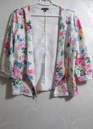 Пиджак накидка missi london белый разноцветный цветочный принт розовые цветы