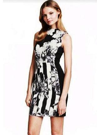 Красивое платье футляр в чёрно-белый принт h&m