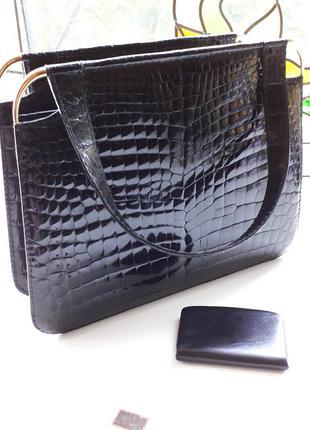 Винтажная сумка черного цвета кожа рептилия аллигатор