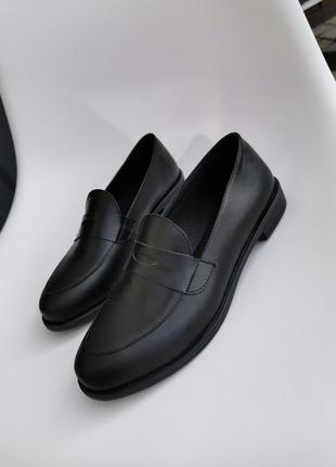Лофери чорні жіночі туфлі лоферы женские черные кожа