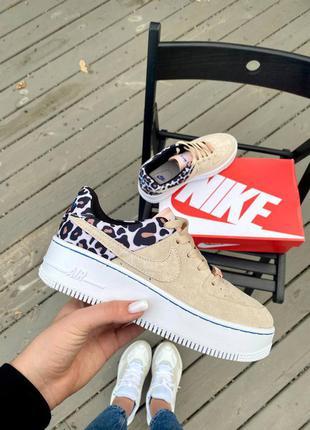 Nike air force 1 sage leopard кроссовки женские окрас леопарда