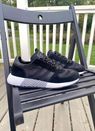 Adidas marathon black кроссовки женские спортивные черного цвета