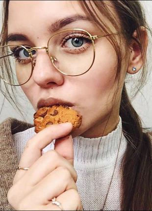 Очки окуляри имидж имиджевые компьютерные для чтения унисекс оправа золото новые