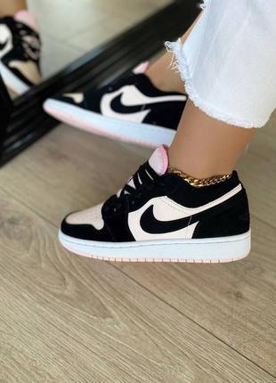 Кросівки air jordan 1 low black / pink кроссовки