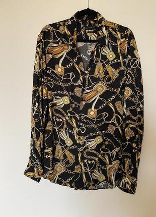 Віскозна блуза-сорочка zara в принт