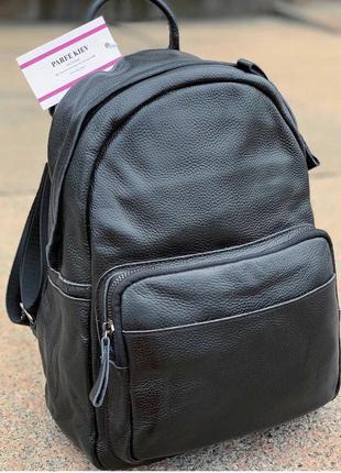 Кожаный чёрный женский городской рюкзак под а4 на каждый день стильный