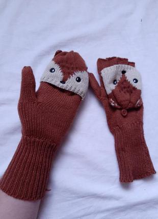Рукавички, рукавиці, без пальців, лисички, мітенки