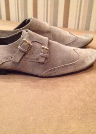 Замшевые туфли, фасон монки, бренд kg, р. 43