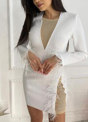 Платье soab,белое с перьями