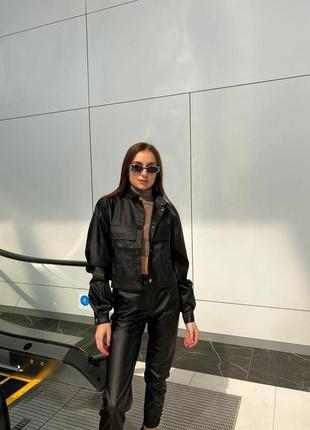 Куртка -рубашка эко кожа черная беж мокко
