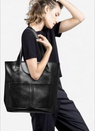 Кожаная чёрная женская сумка шопер подойдёт под документы и на каждый день