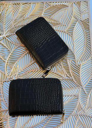 Маленькие женские кошелёчки кожаные чёрные genuine leather италия