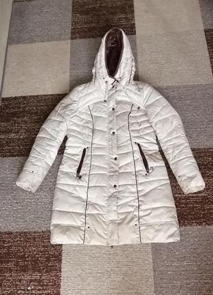 Куртка бежевая женская зимняя очень теплая
