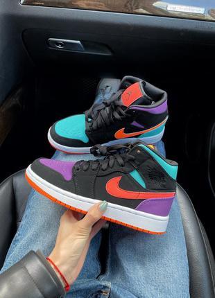 Air jordan 1 multicolor высокие женские кроссовки