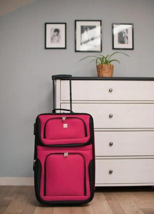 Чемодан тканевый маленький на 2 колёсах bonro best s (вишневый / pink)