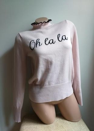 Пудровый свитер. короткий свитер. гольф. водолазка. пуловер. 6% шерсть.