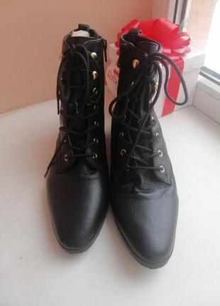 Кожаные ботинки 38-39р