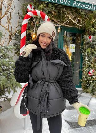 Зимняя куртка из эко меха барашка 🐑 🌈 черный, молоко, фрез