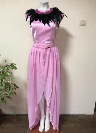 Платье с перьями,платье со съемной юбкой