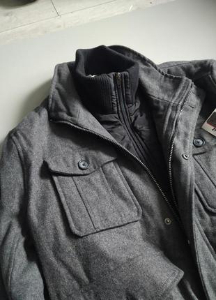 Мужское серое теплое  спортивное пальто с подкладкой