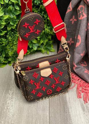 Женская сумка 3 в 1 вышивка красная