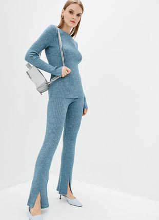 Люксовый теплый вязаный костюм серо-голубой