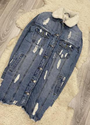 Класный удлиненный пиджак шерпа