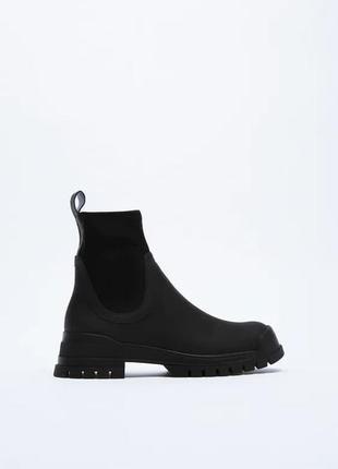 Прорезинені чорні черевики, zara! оригінал, з португалії!