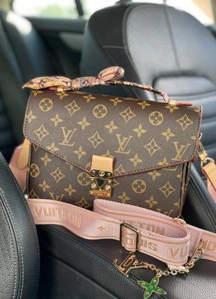 Коричневая, стильная женская сумочка с розовым ремешком