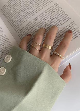 Набор масивных колец 4 шт кольца безразмерные кольцо на фаланги кольцо жемчуг