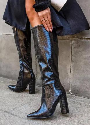 Сапоги на высоком каблуке, чёрные, экокожа, деми