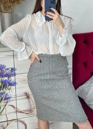 Шерстяная юбка карандаш миди 1+1=3