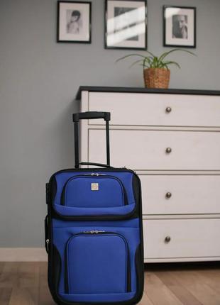 Чемодан тканевый маленький на 2 колёсах bonro best s (синий / blue)