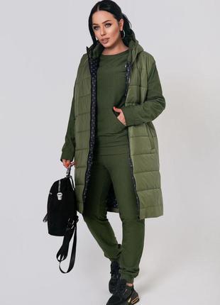 Тёплая куртка плащевка + трехнитка с начёсом в расцветках р.46-60