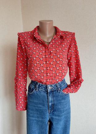 Блуза dorothy perkins рубашка сорочка блузка паттерн цветочный принт рюши