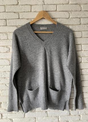 Кашемировый серый осенний свитер размер m