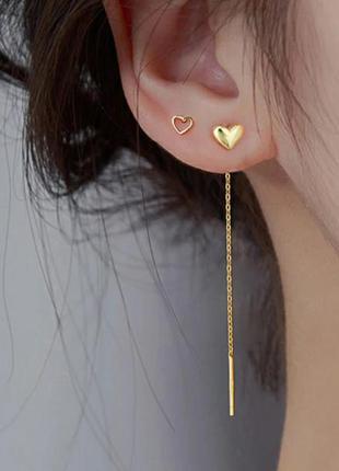 Серьги серебро позолота покрытие сережки цепочки протяжки сердечки