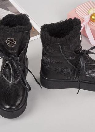 Зимние кожаные ботинки с мехом с опушкой. 36 37 39 40