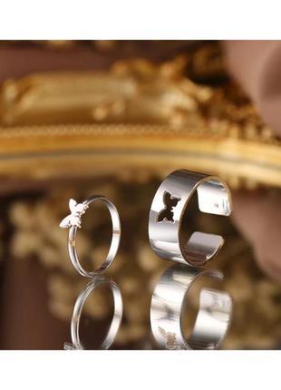 🔗 парные кольца набор колец бабочки трендовое кольцо с бабочкой массивное кольцо серебряное кольцо