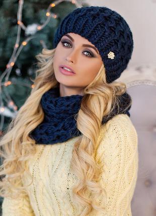 Синий зимний набор шапка на флисе и шарф-хомут