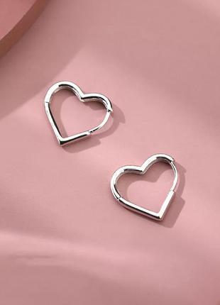 Серьги сердечки сережки сердце