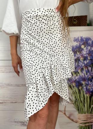 Красивая белая юбка миди с рюшами в горох на высокой посадке 1+1=3